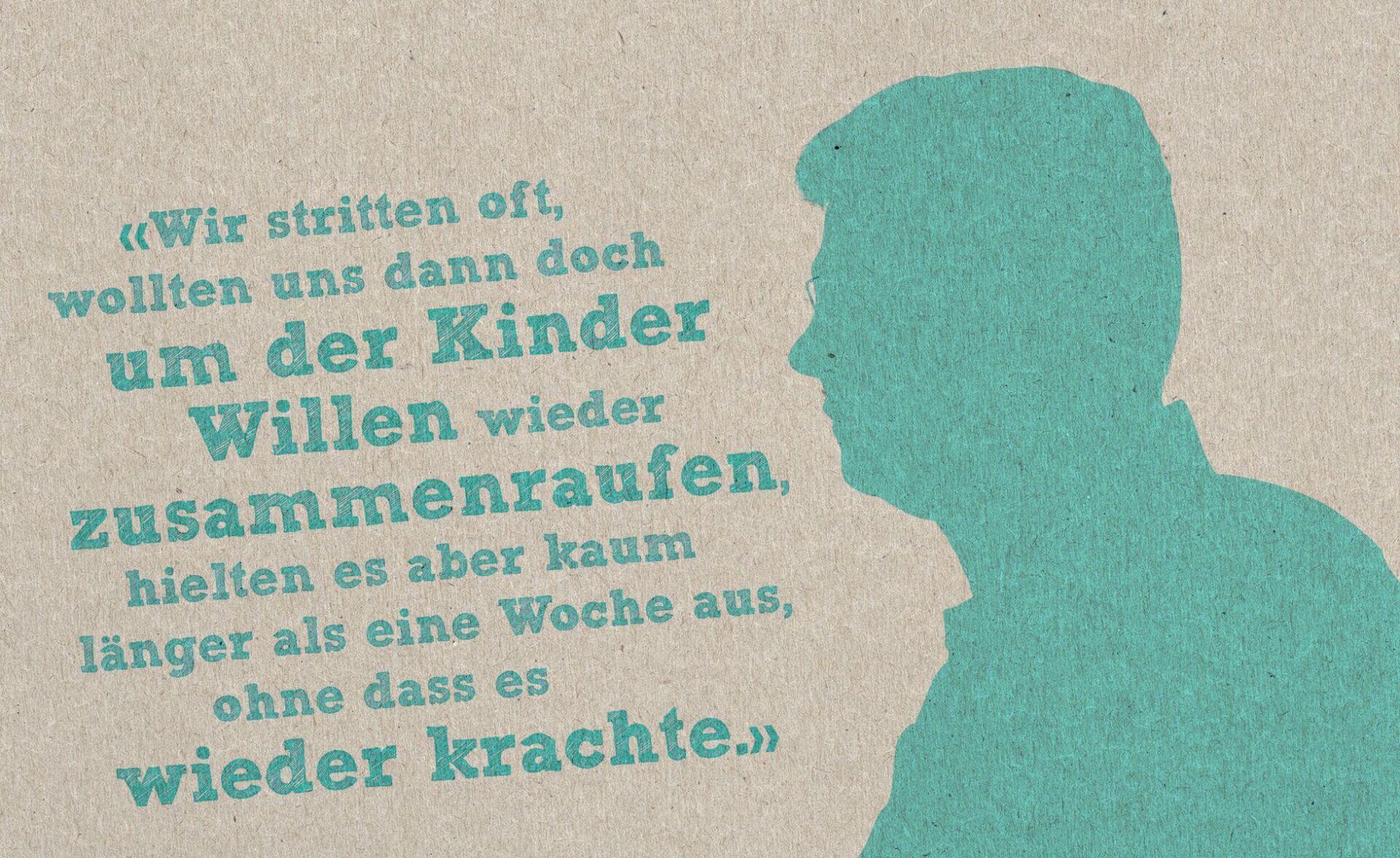 Silhouette eines Mannes in der Farbe petrol auf beigem Hintergrund. Links davon ein Zitat.